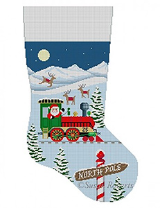Susan Roberts Needlepoint Designs - Hand-painted Christmas Stocking - Santa's Train Engine