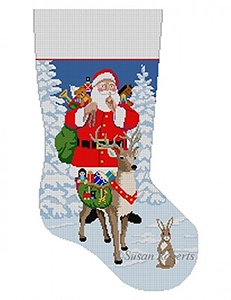 Susan Roberts Needlepoint Designs - Hand-painted Christmas Stocking - Shh, Santa and Reindeer Bringing Toys
