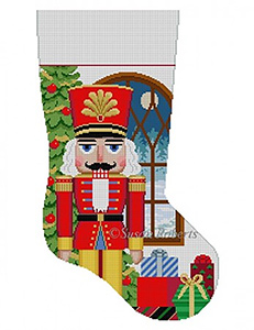 Susan Roberts Needlepoint Designs - Hand-painted Christmas Stocking - Nutcracker in Window