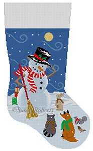 Susan Roberts Needlepoint Designs - Hand-painted Christmas Stocking - Windy Snow Gifts Snowman
