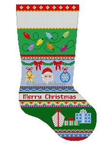 Susan Roberts Needlepoint Designs - Hand-painted Christmas Stocking - Bold Stripe Lights, Ornaments, Presents