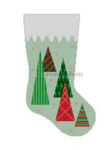 Susan Roberts Needlepoint Designs - Hand-painted Christmas Stocking - Christmas Trees