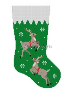 Susan Roberts Needlepoint Designs - Hand-painted Christmas Stocking - Reindeer