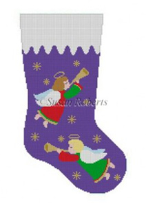 Susan Roberts Needlepoint Designs - Hand-painted Christmas Stocking - Angels