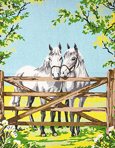 Margot Creations de Paris Needlepoint Two White Horses at the Gate