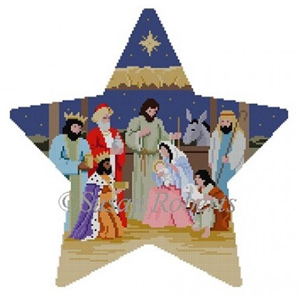 Susan Roberts Needlepoint Designs - Hand-painted Canvas - Star Tree Topper Nativity
