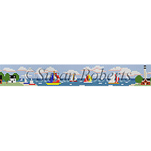 Susan Roberts Needlepoint Belt Canvas - Sailboats & Lighthouses