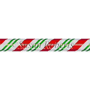 Susan Roberts Needlepoint Belt Canvas - Red & Green Candycane