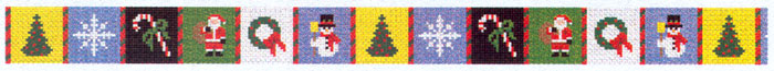 Susan Roberts Needlepoint Belt Canvas - Christmas Patches