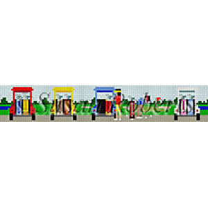 Susan Roberts Needlepoint Belt Canvas - Golf Carts