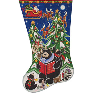 Bear's - Night Before Hand Painted Stocking Canvas from Rebecca Wood
