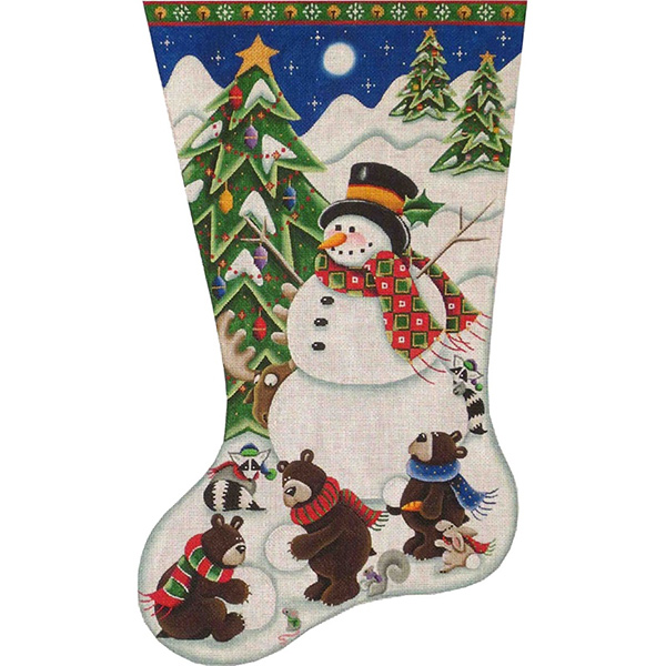 Building a Snowman Hand Painted Stocking Canvas from Rebecca Wood
