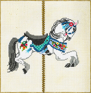 Carousel Horse 3A - Stitch Painted Needlepoint Canvas from Sandra Gilmore