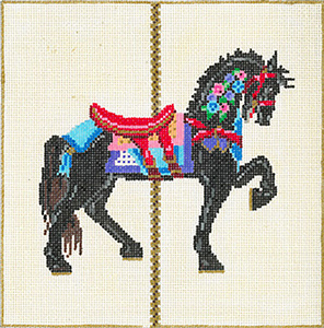 Carousel Horse 3G - Stitch Painted Needlepoint Canvas from Sandra Gilmore