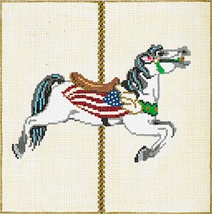 Carousel Horse 3I - Stitch Painted Needlepoint Canvas from Sandra Gilmore