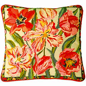 Primavera Needlepoint Cushion Kit - Peach Blossom Tulips