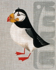 Leigh Designs - Hand-painted Needlepoint Canvases - Horned Puffin