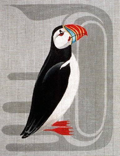 Leigh Designs - Hand-painted Needlepoint Canvases - Atlantic Puffin