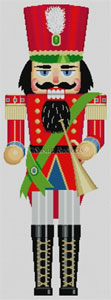 Susan Roberts Needlepoint Designs - Hand-painted Christmas Canvas - Large Red Horn Player Nutcracker