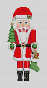 Susan Roberts Needlepoint Designs - Hand-painted Christmas Canvas - Nutcracker Santa Claus