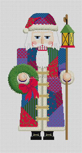 Susan Roberts Needlepoint Designs - Hand-painted Christmas Canvas - Nutcracker Patchwork Santa