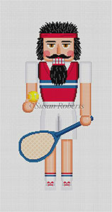 Susan Roberts Needlepoint Designs - Hand-painted Christmas Canvas - Nutcracker Tennis Player