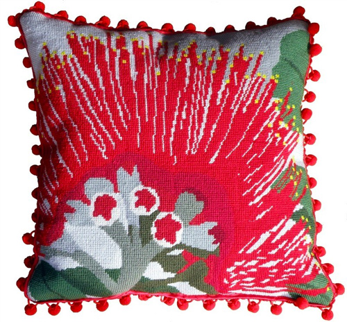 Pohutukawa Flower Needlepoint Cushion Kit - Product of New Zealand