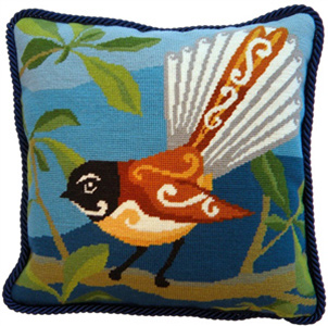 Piwakawaka Fantail Needlepoint Cushion Kit - Product of New Zealand