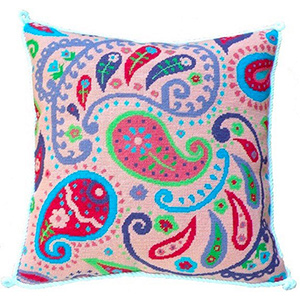 Pink Paisley Needlepoint Cushion Kit - Product of New Zealand
