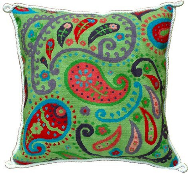 Green Paisley Needlepoint Cushion Kit - Product of New Zealand