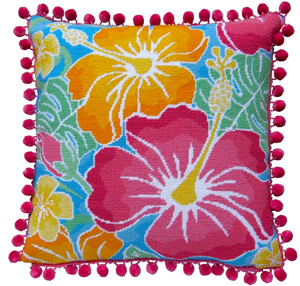 Hibiscus Needlepoint Cushion Kit - Product of New Zealand