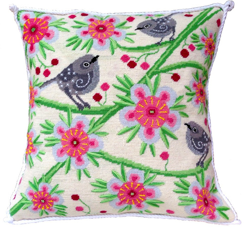 Riroriro Needlepoint Cushion Kit - Product of New Zealand