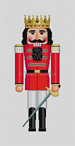 Susan Roberts Needlepoint Designs - Hand-painted Christmas Canvas - Nutcracker Red Prince