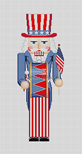 Susan Roberts Needlepoint Designs - Hand-painted Christmas Canvas - Nutcracker Uncle Sam with Drum