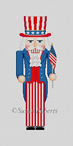 Susan Roberts Needlepoint Designs - Hand-painted Christmas Canvas - Nutcracker Uncle Sam