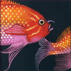 Leigh Designs - Hand-painted Needlepoint Canvases - Tropical Fish - Fairy Basslet Coaster