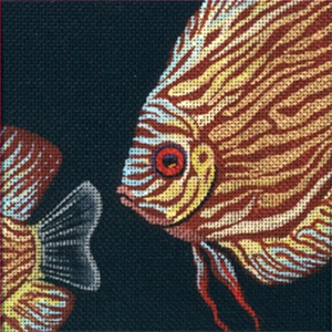 Leigh Designs - Hand-painted Needlepoint Canvases - Tropical Fish - Brown Discus Coaster