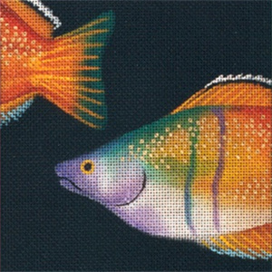 Leigh Designs - Hand-painted Needlepoint Canvases - Tropical Fish - Rainbow Coaster