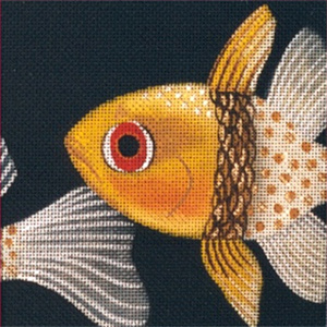 Leigh Designs - Hand-painted Needlepoint Canvases - Tropical Fish - Polka Dot Cardnal Coaster