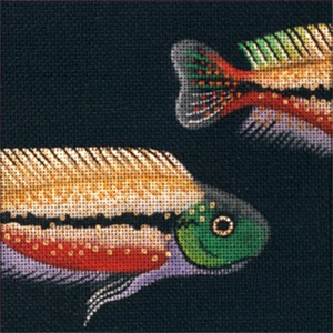 Leigh Designs - Hand-painted Needlepoint Canvases - Tropical Fish - Cichlasoma Coaster