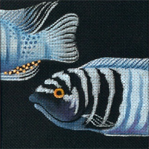 Leigh Designs - Hand-painted Needlepoint Canvases - Tropical Fish - Cobalt Cichlid Coaster