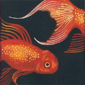Leigh Designs - Hand-painted Needlepoint Canvases - Tropical Fish - Oranda Coaster