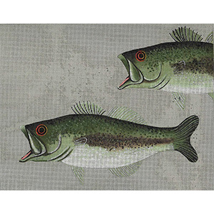 Leigh Designs - Hand-painted Needlepoint Canvases - Large Mouth Bass & Fly Canvas