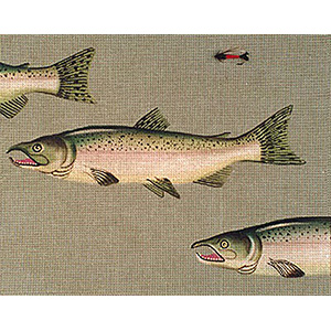 Leigh Designs - Hand-painted Needlepoint Canvases - Chinook Salmon & Fly Canvas