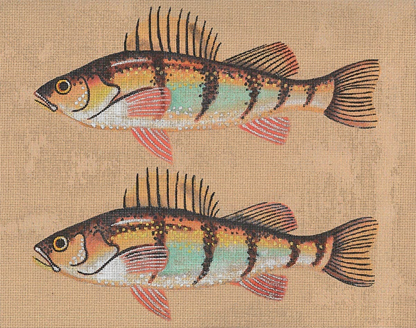 Leigh Designs - Hand-painted Needlepoint Canvases - Yellow Perch & Fly Canvas