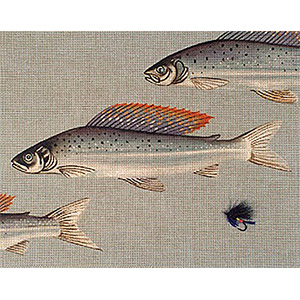 Leigh Designs - Hand-painted Needlepoint Canvases - Arctic Grayling & Fly Canvas