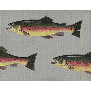 Leigh Designs - Hand-painted Needlepoint Canvases - Rainbow Trout & Fly Canvas