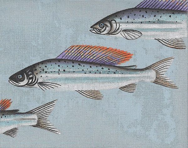 Leigh Designs - Hand-painted Needlepoint Canvases - Arctic Char & Fly Canvas