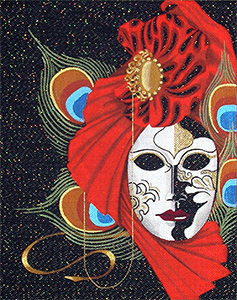 Leigh Designs - Hand-painted Needlepoint Canvases - Chiara Mask