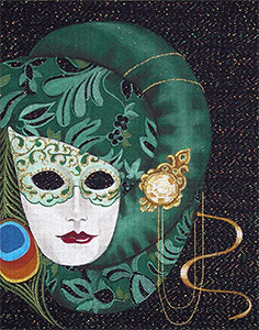 Leigh Designs - Hand-painted Needlepoint Canvases - Rossana Mask